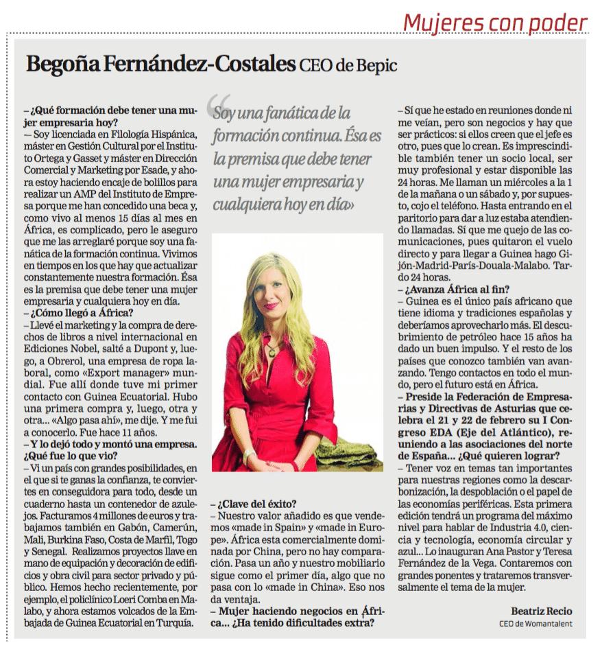 entrevista Begoña Fernandez Costales en La Razón